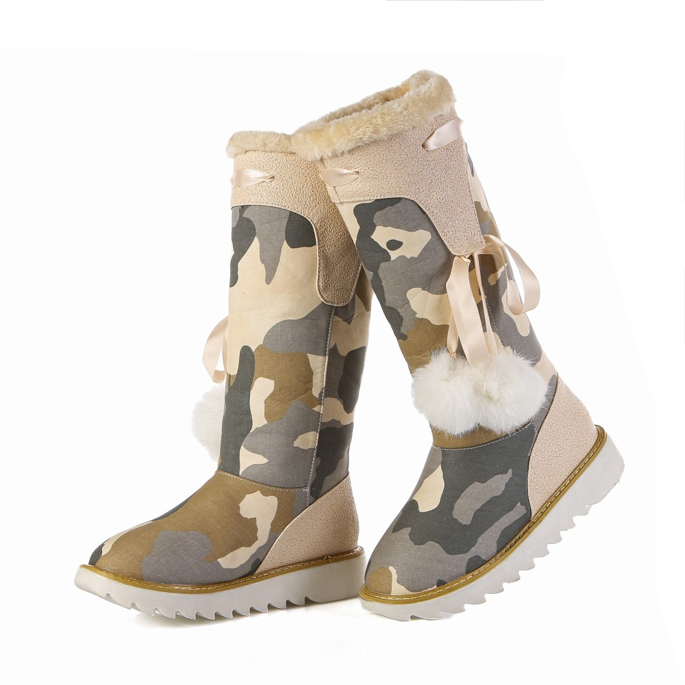 ФОТО 2016 Fashion Women Camouflage Snow Boots Deninm Round Toe Flat With Black Beige Comfortable Shoes Woman Size 4-10.5