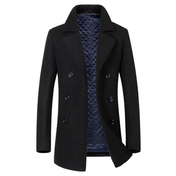 Hombres Nuevos de sección larga Trench abrigo moda Casual de negocios de hombre cuello grueso de lana de invierno abrigo de hombre negro gris
