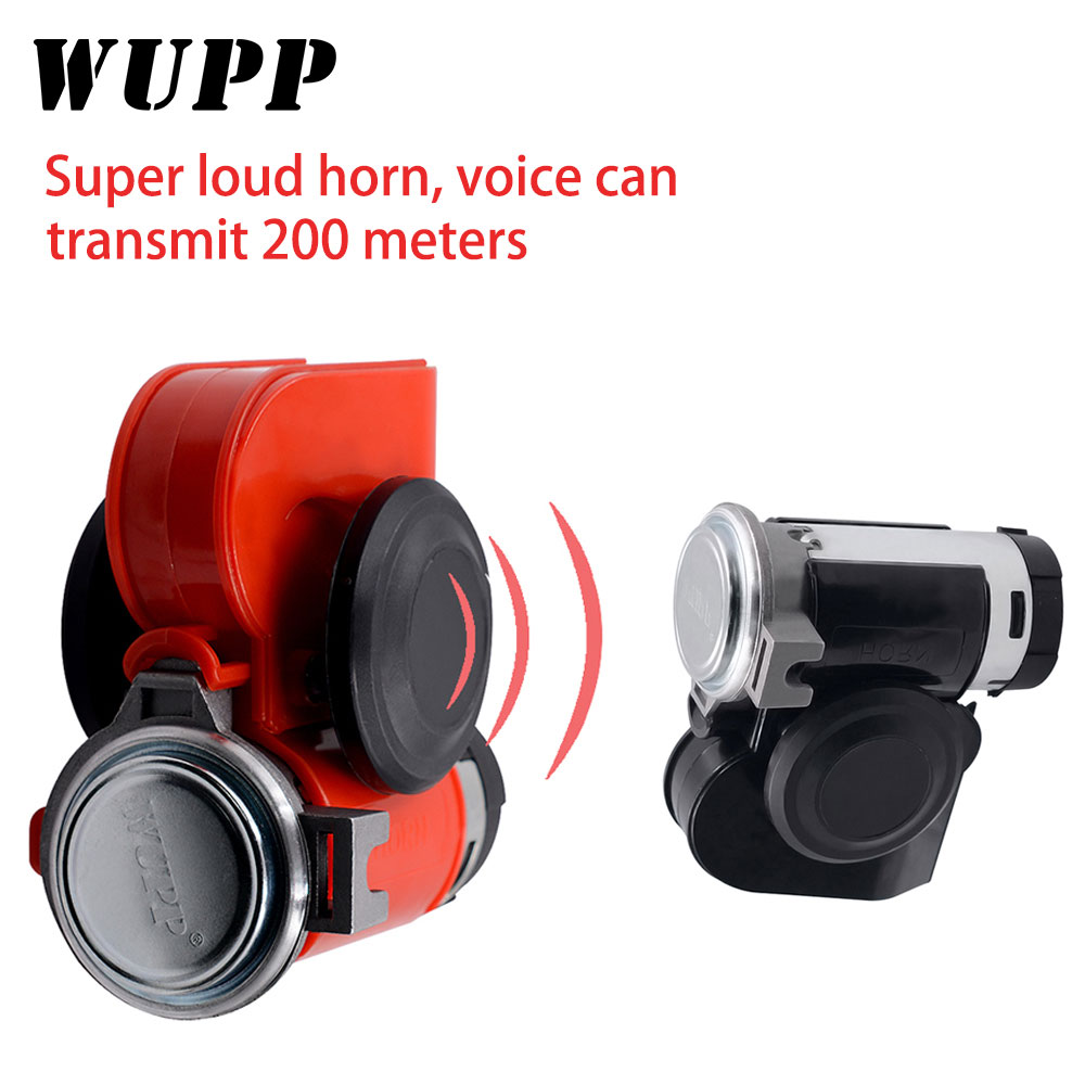 WUPP 12 V Super Loud Car Motorcycle Truck  Horns Truck Yacht Boat Compact Dual Tone Electric Pump Air Loud Motorbike Horn