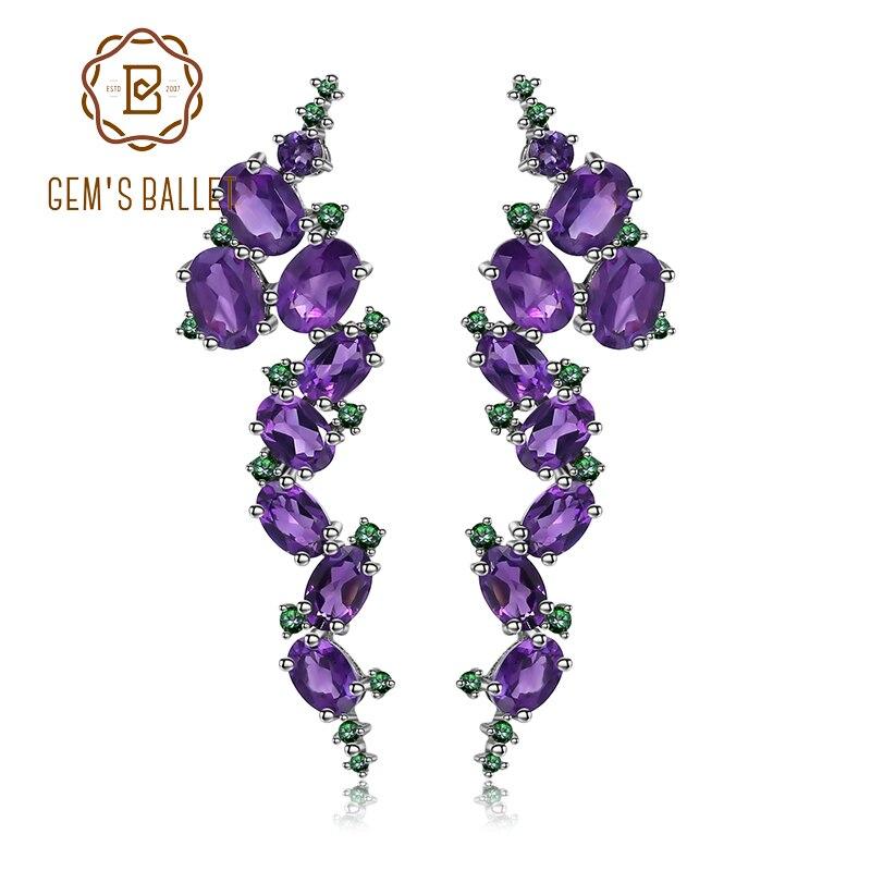 GEM S BALLET 925 Sterling Sliver 9 78Ct Natural Amethyst Gemstone Clip Earrings Vintage Gothic Punk