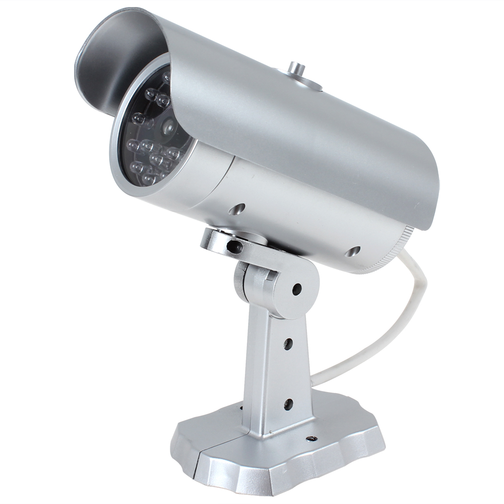 Waterproof Outdoor Indoor 18 False IR LEDs Emulational Fake Decoy Dummy CCTV Camera video Surveillance with Red Blinking Light fake dummy security camera cctv surveillance system with realistic simulated leds outdoor indoor for home cam warning sticker