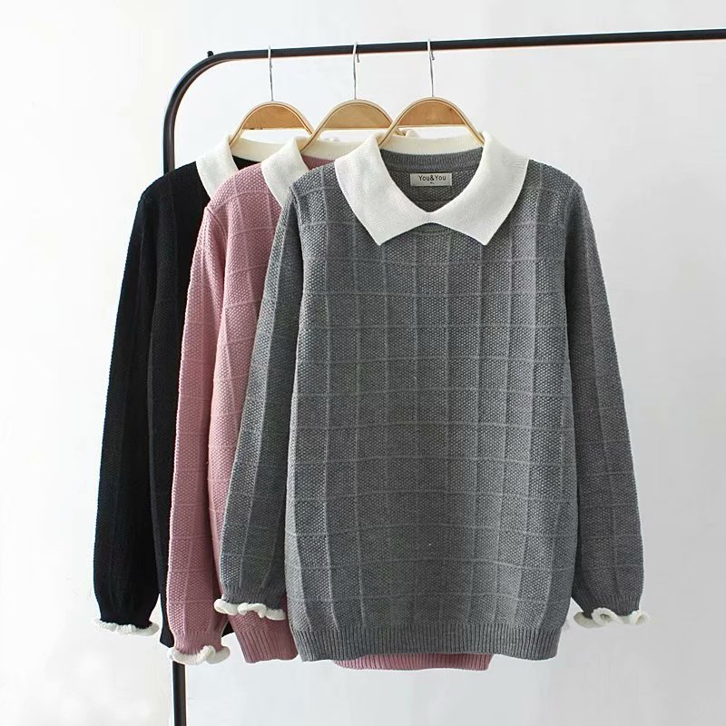 Plus Size Autumn Women Pullovers Plaid Sweater 2018 Knitted Black & Gray & Pink Long Sleeves Turn-down Collar Ladies Pull Femme