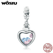ad3d5fc0058f WOSTU auténtica Plata de Ley 925 Color CZ piedra dentro memoria caja corazón  colgante fit para mujer pulsera collar CQC588