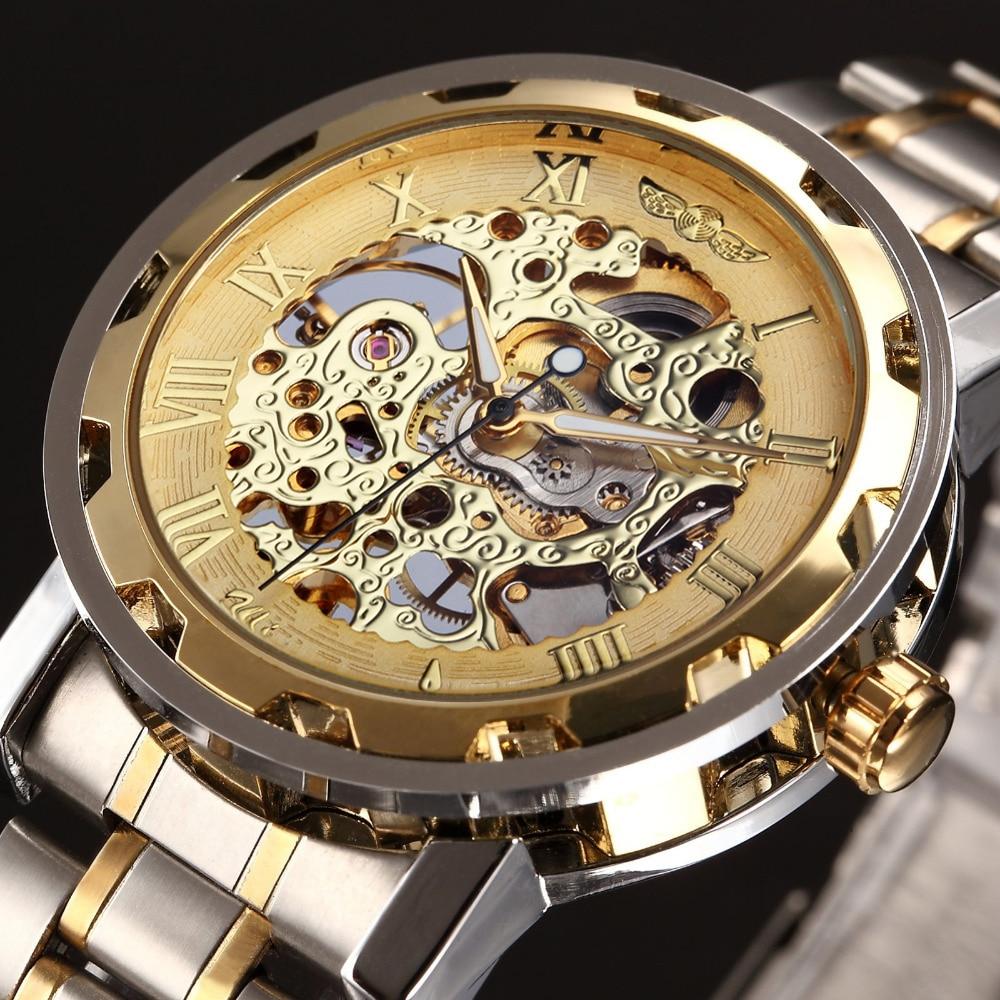 Wrist watches brands for mens - Winner Golden Watches Men Skeleton Mechanical Watch Stainless Steel Top Brands Luxury Man Watch Montre Homme Wristwatch