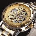 GANADOR de Oro Relojes de Los Hombres Reloj Mecánico Esquelético de Acero Inoxidable Mejores Marcas de Lujo Reloj Hombre Montre Homme Reloj