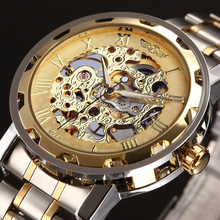ПОБЕДИТЕЛЬ Золотой Часы Мужчины Скелет Механические Часы Из Нержавеющей Стали Топ-Брендов Роскошный Мужчина Часы Montre Homme Наручные Часы