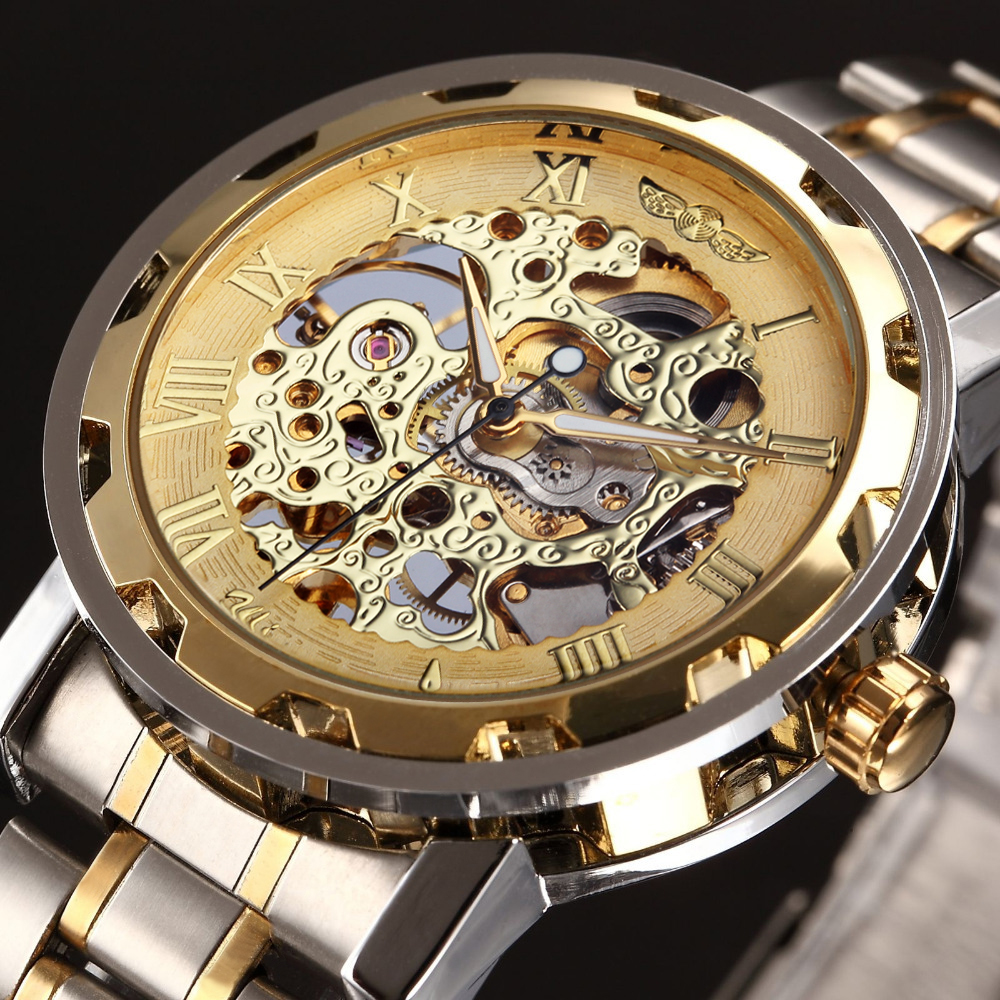 popular top hand safety buy cheap top hand safety lots from winner golden watches men skeleton mechanical watch stainless steel top brands luxury man watch montre homme