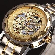 GANADOR de Oro Hombres Reloj Mecánico Esquelético de la Mano del Viento de Acero Stainess Acero Relojes Transparente Steampunk Reloj Montre Homme