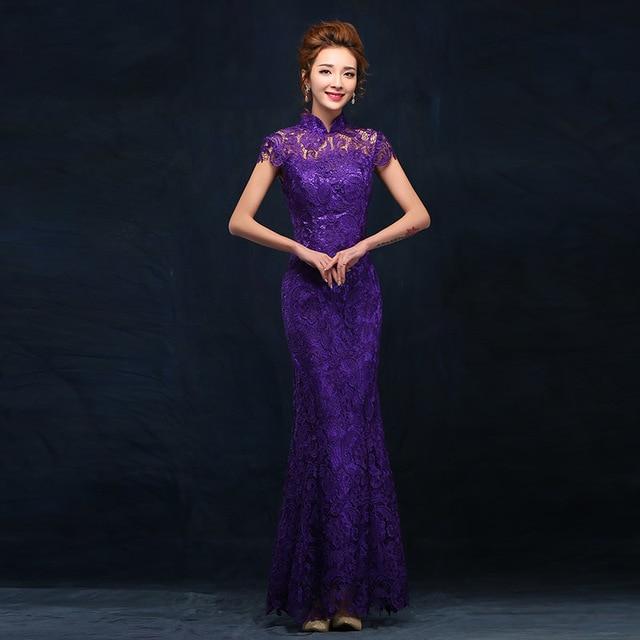 Long Purple Gown Lace Cheongsam Dress Elegant Mermaid Wedding Dress  Traditional Chinese Bride Evening Dresses Modern a3e709bf541c