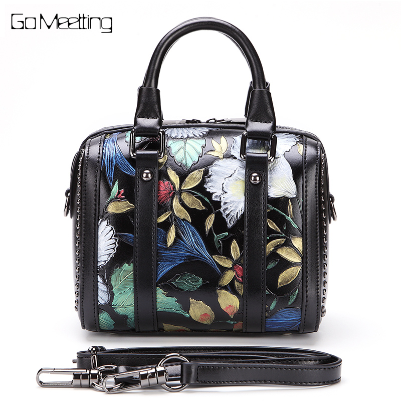 Brand  Vintage Genuine Leather Women handbags Totes  Flowers Cow Leather Women's Shoulder Bag hand bag Crossbody bags New 2018 new original brand designer women s nature cow leather skin female handbags soft vintage crossbody shoulder bags totes