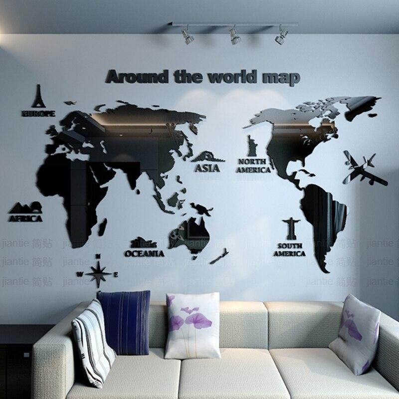 הגעה חדשה מפת עולם אקריליק מראה קיר מדבקת Creative ביתי משרד DIY אמנות קיר דקור סלון חדר שינה קישוט