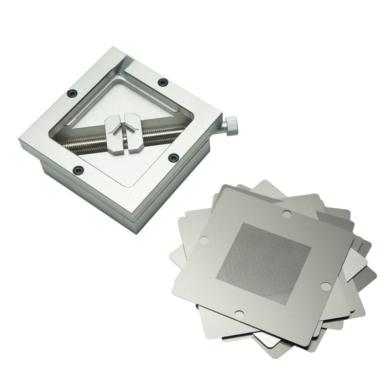 Silver BGA reballing kit 90*90mm 90x90mm station with 10PCS Universal Stencil For Chip Rework Repair Soldering Kit
