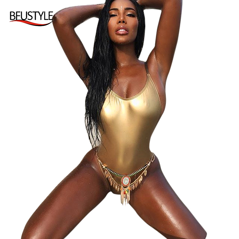 BFUSTYLE New Golden Fabric Swimsuit For Women Sexy Backless Thong Bathing Suit Slim Fit Swimwear Strap