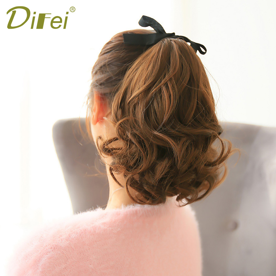 DIFEI 7 Colors Short Curly Ponytail Synthetic Heat Resistant Hair Drawstring Hairpiece Ponytail For Women