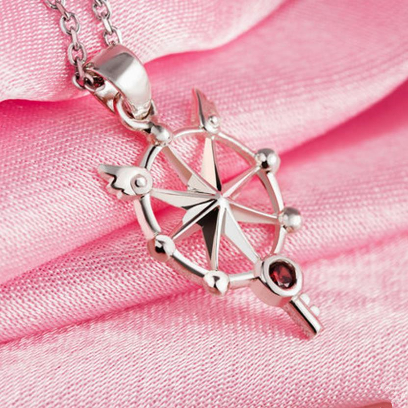 Anime Card Captor Clear Card Sakura Kinomoto Star Wand Dream Key Pendant Silver Necklace Cosplay Magic Necklace anime cosplay card captor kinomoto sakura jk school cosplay costume girls uniforms costumes coat shirt skirt