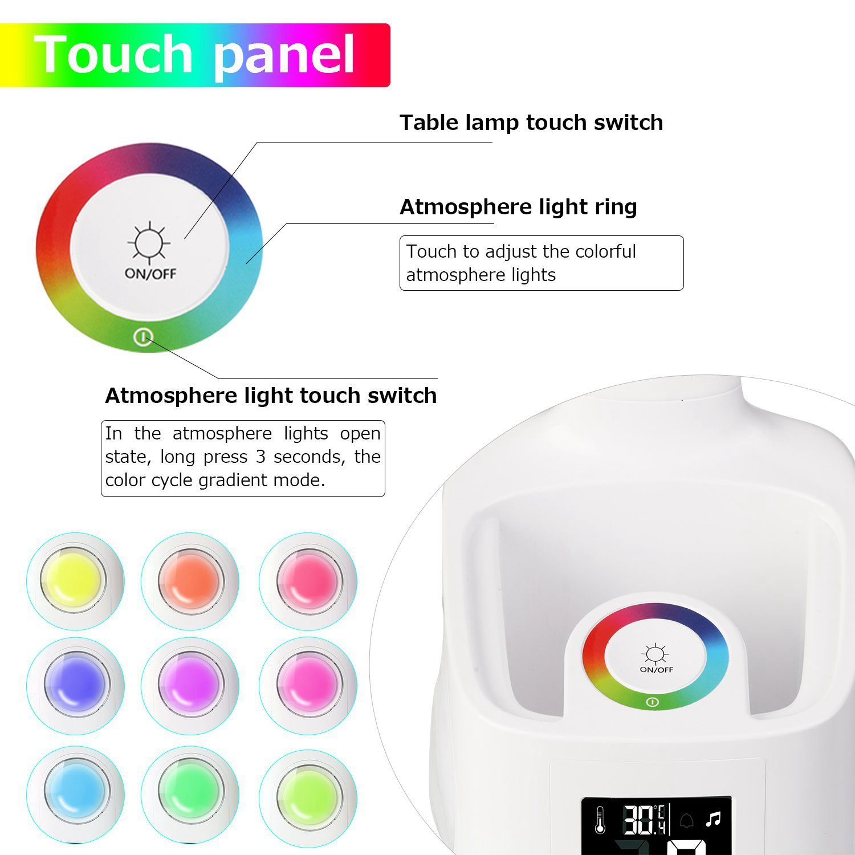 Lámpara de escritorio led puerto de carga usb Calendario de pantalla de color luz de noche niños lámpara de mesa led regulable con bolígrafo de estudio LED luz regalos - 5