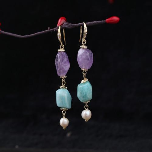 The designer hand made of natural stone irregular cut crystal pearl earrings pair of sweet rhinestone faux pearl irregular earrings for women