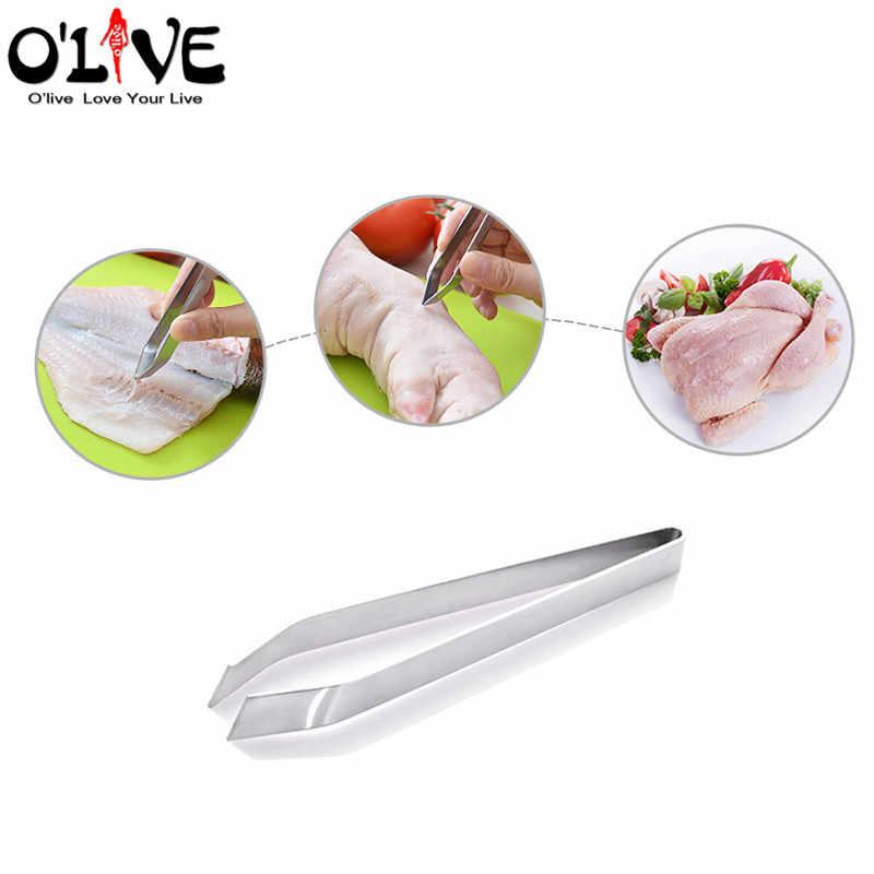 الأسماك العظام ملاقط الفولاذ المقاوم للصدأ خنزير الشعر كليب الأسماك العظام مزيل الكماشة مجتذب الأسماك ملقط اليابانية الطبخ أدوات المطبخ D5