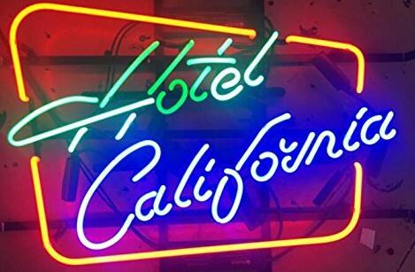 Hotel California Sinal da Luz de Néon de Vidro