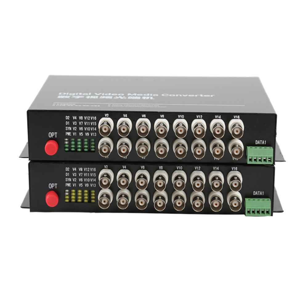 16 CH Video Fiber Optical Media Converters -16 BNC Transmitter Receiver RS485 Data Single mode 20Km For CCTV Surveillance system