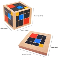 Free Shipping Early Learning Educational Toys Montessori Wooden Trinomial Cube for Toddlers