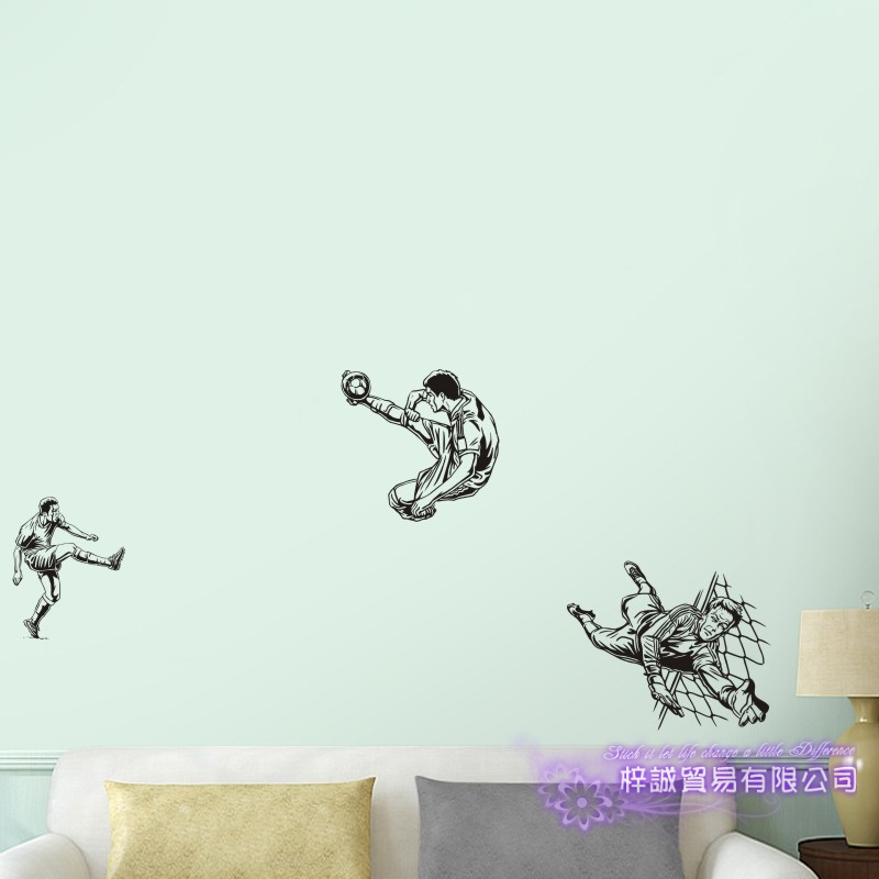 DCTAL Football Player Sticker Football Game Soccer Decal Helmets Kids Room Posters Vinyl Wall Decals F13