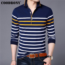 COODRONY Brand Long Sleeve T Shirt Men Streetwear Striped Tshirt Autumn Cotton T-Shirt Business Casual Tee Homme 95030