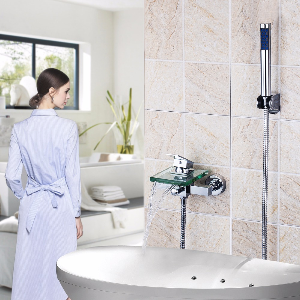 Bath Amp Shower Faucets Square Wall Mounted Waterfall Glass