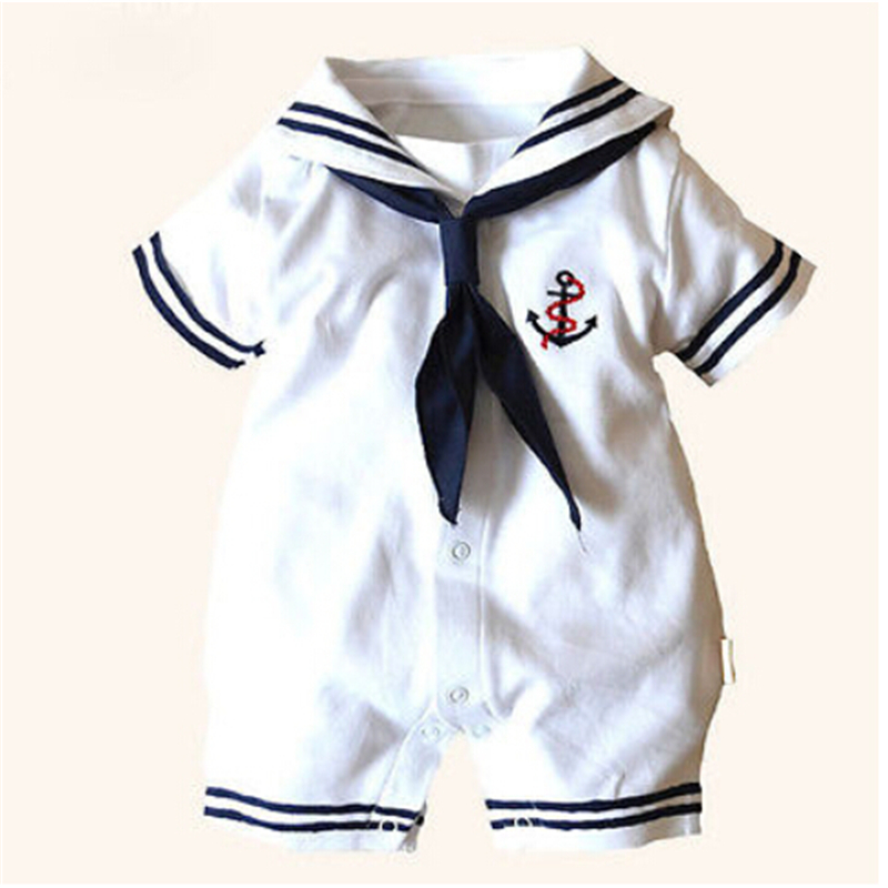 baby sailor costume anchor   romper   navy costumes for infants 2017 new white cotton Short sleeve jumpsuit Halloween costume baby