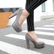Shoes Woman High-Heels Pumps Wedding-Party Round-Toe Fashion Ladies Spring Platform Grey