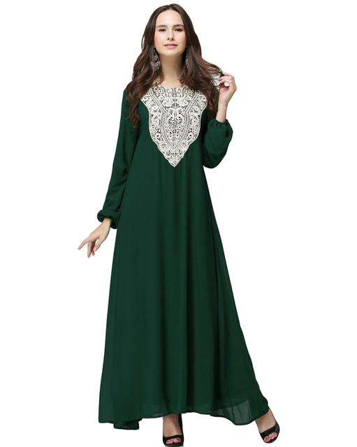 8a71389afa4 Muslim Robe Plus Size Dress Women Chiffon Maxi Dress Round Neck Long Sleeves  Abaya Islamic Casual