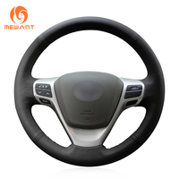 MEWANT Black Genuine Leather Car Steering Wheel Cover for Toyota Verso EZ Avensis