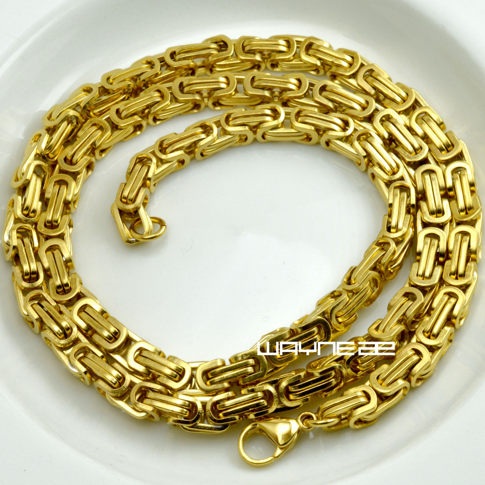 60cm 70cm MENS Chain Gold Tone Curb Link Stainless Steel Necklace 6mm W N311