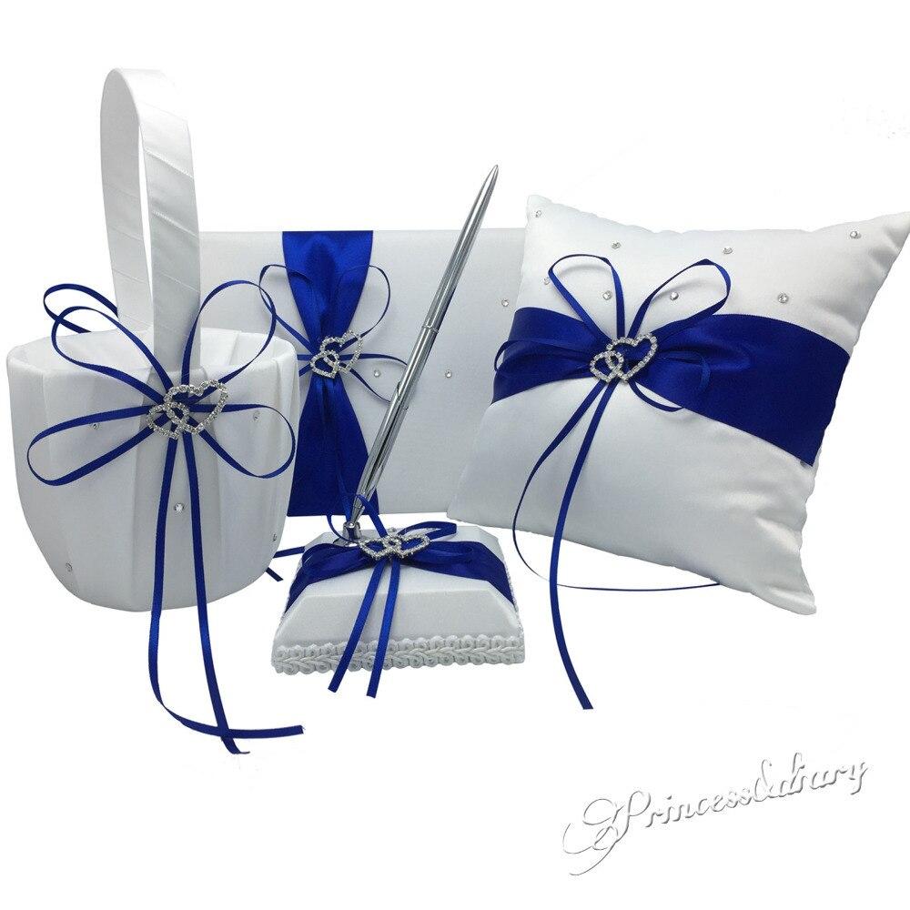 4 pièces/ensemble 5 couleurs décoration de mariage nuptiale Satin anneau oreiller + panier de fleurs + livre d'or + ensemble de stylos produits Casamente