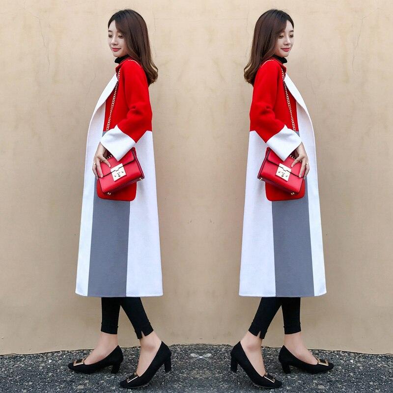 De rouge coat Manteau Feminino Femmes Marron Femme Automne Casaco Patchwork vent Couleur Long Manteaux Crash Pour Coupe Hiver Trench wPxq6XxU