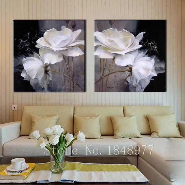2 pezzi moderna pittura astratta in bianco fiori dipinto ad olio su ...
