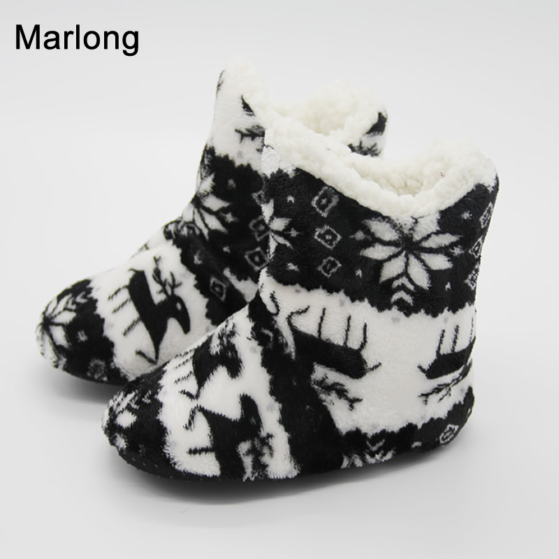 Boy Baby Girl Indoor Home Warm Soft Plush Cute Slippers Winter Deer Snowflake Household Shoes for Baby Children Kids