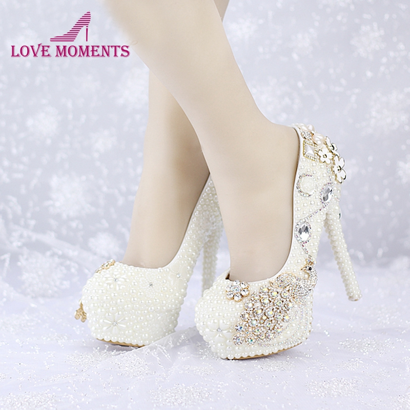 2018 Custom Made New Ivory Pearl Wedding Shoes Round Toe Platforms Phoenix Rhinestone Bridal Dress Shoes Banquet Prom Pumps2018 Custom Made New Ivory Pearl Wedding Shoes Round Toe Platforms Phoenix Rhinestone Bridal Dress Shoes Banquet Prom Pumps