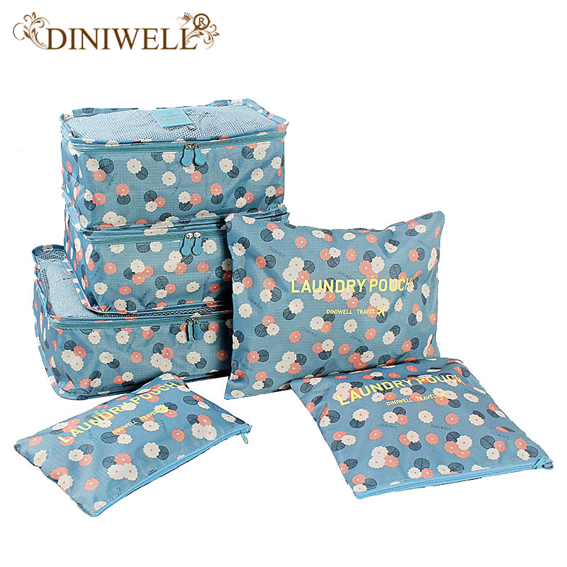 DINIWELL 6 PCS Travel Closet Closet Divider Container Storage Bag Set Untuk Pakaian Tidy Organizer Packing Cubes Laundry Bag