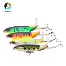 1Ps Artificial Hard Bait Whopper Popper 10cm 13g Topwater Fishing Lure 3D Eyes Plopper Soft Rotating Tail Wobbler  Swimming