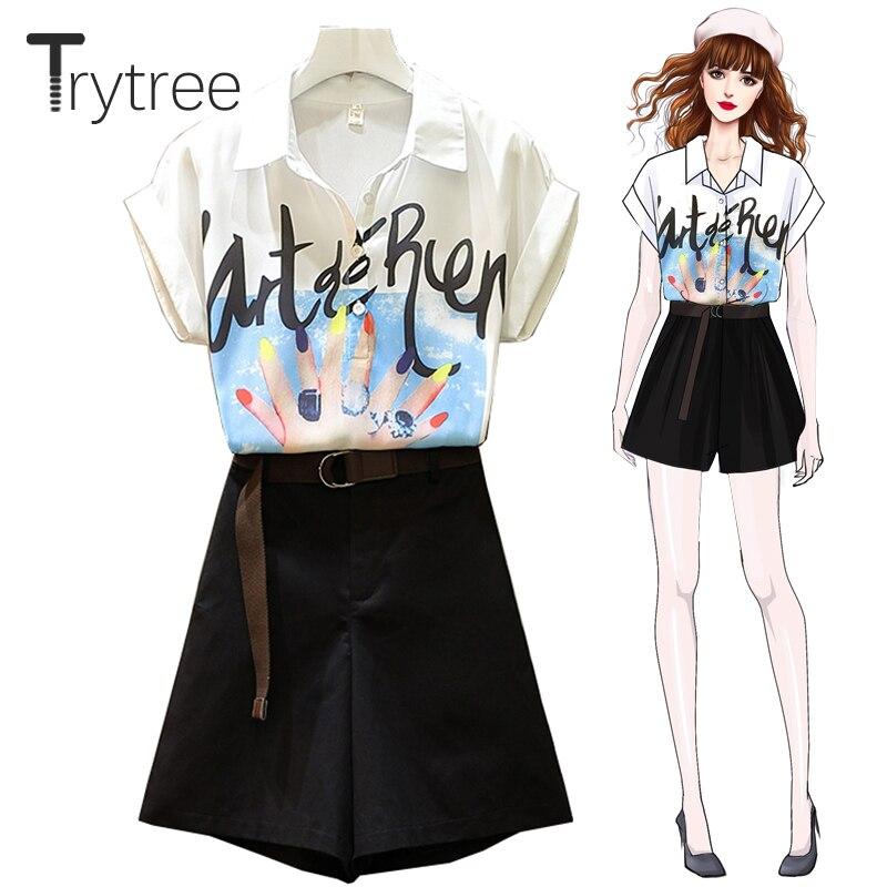 360a3802ea20 Cheap Tritree verano Mujer conjunto de dos piezas Casual Fahion estampado  blusa + Pantalones cortos bolsillos