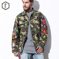 Men Long Sleeve Cotton Casual Shirt Camo Medal Decoration Army Military Shirt Male Brand Design Clothes Loose 2016 Autumn New