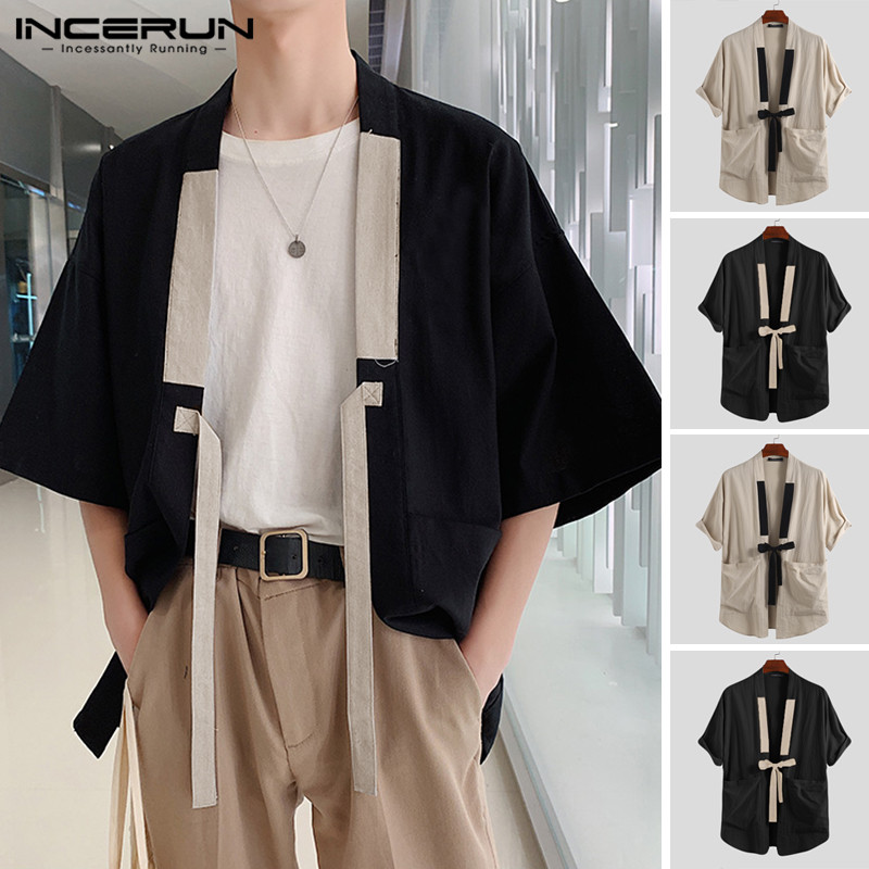 INCERUN 2020 Chinese Style Men Shirt Kimono Cotton Solid Harajuku Pockets Half Sleeve Tops Streetwear Vintage Men Casual Shirts