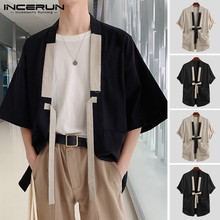 INCERUN 2020 Chinese Style Men Shirt Kimono Cotton Solid Har
