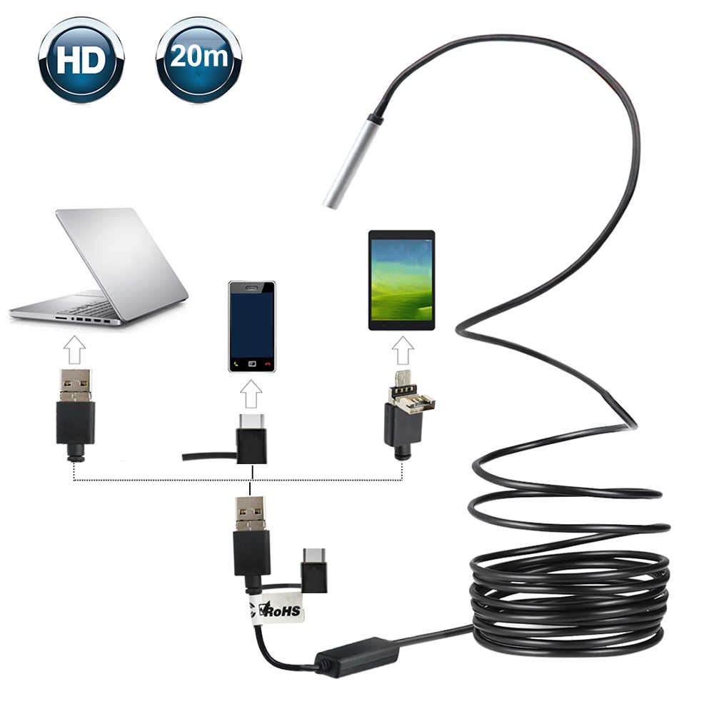 3 in 1 Type-C USB Endoscoop IP67 Waterdichte Inspectie Borescope Endoscoop Camera Ingebouwde 6 Verstelbare LED Verlichting Voor android