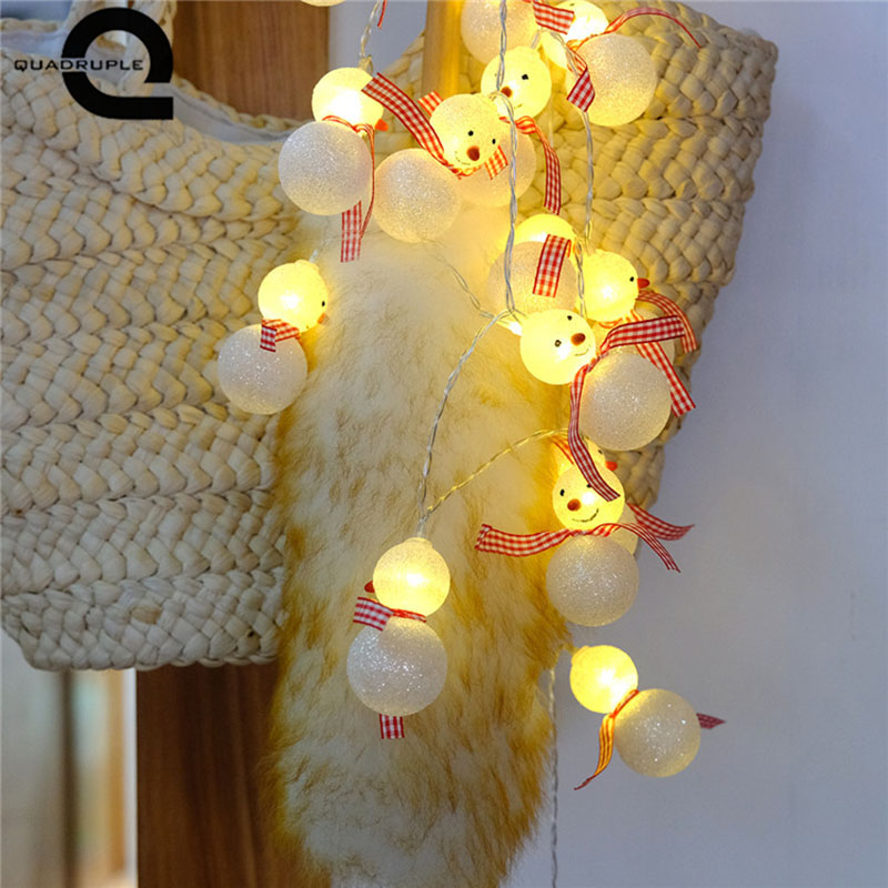 Quadurple 10 LEDS Battery Snowman LED String Lights for Xmas Garland Party Wedding Decoration Christmas Flasher Fairy Lights