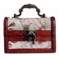 1Pc Vintage Stamp Small Metal Lock Jewelry Treasure Chest Case Wooden Box New ZB380