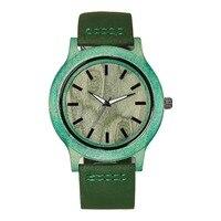 Fashion Women Green Natural Wooden Watch Genuine Leather Wristwatch Good Quality Quartz Wristwatches Wood Watch Top