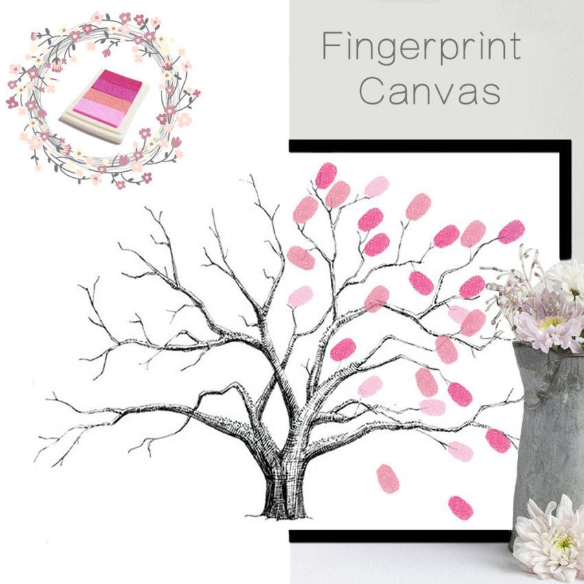 Wedding Guestbook Thumprint Tree Canvas A Great Wedding: DIY Canvas Wedding Tree Fingerprint Guest Book Wedding