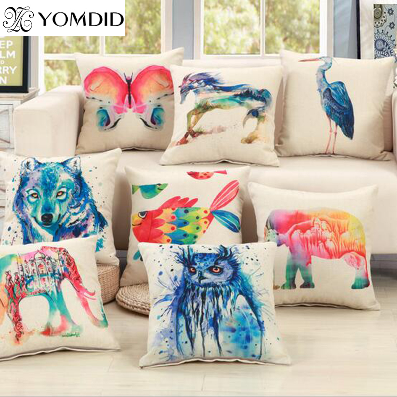 Fashion Elephant Horse Owl Printed Linen Cotton Cushion For Sofa Home Car Decorative Pillow Throw Almofadas Cojines